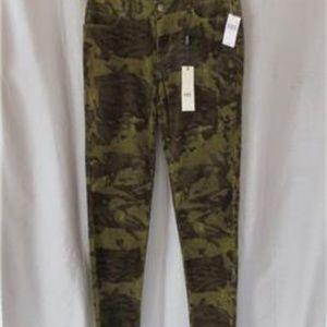 ABS Allen Schwartz skinny pants 27 green camo cord